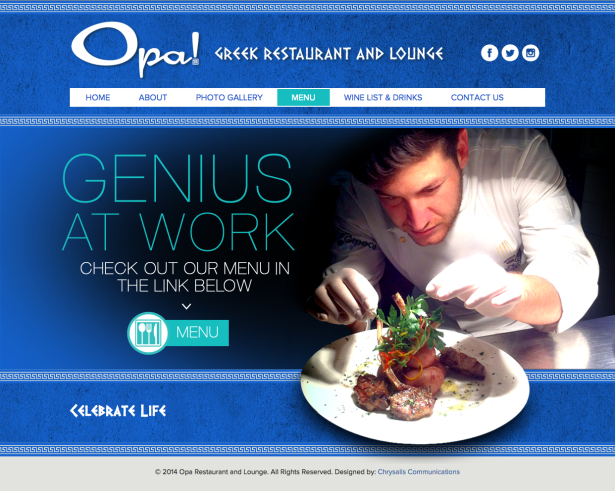 Chrysalis Communications Launches Website for Opa!